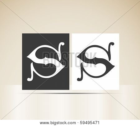 Vector letter S sign alphabet