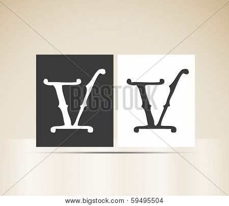 Vector letter V sign alphabet