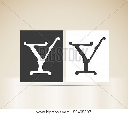 Vector letter Y sign alphabet