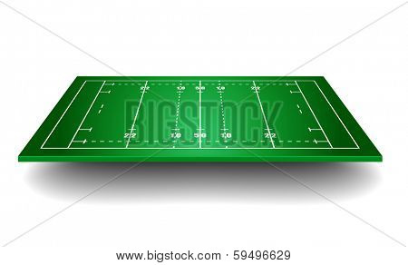 detailed illustration of a rugby field with perspective, eps10 vector