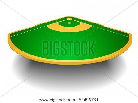 detailed illustration of a baseball field with perspective, eps10 vector