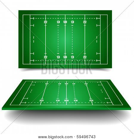 detailed illustration of rugby fields with perspective