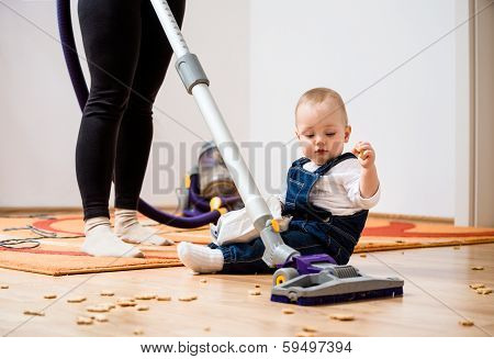 Cleaning home - mother and child