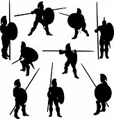 stock photo of hoplite  - A set of Spartan Hoplite Silhouette illustrations in various poses - JPG