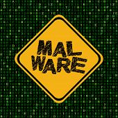 picture of malware  - Malware warning sign on hex code illustration - JPG