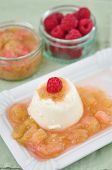 stock photo of panna  - Home made Vanilla Panna Cotta with rhubarb compote