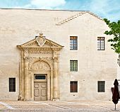 stock photo of avignon  - The modern facade with medieval entrance - JPG