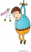 picture of hypnotizing  - Illustration of a hanging man feel sleepy after Hypnotized - JPG