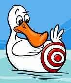 pic of unawares  - Cartoon Humor Concept Illustration of Sitting Duck Saying or Proverb - JPG