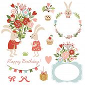 picture of hare  - set of illustrations and graphic elements for greeting cards - JPG