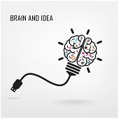 picture of right brain  - Creative light bulb symbol for  business idea  - JPG