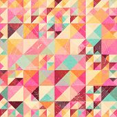stock photo of parallelepiped  - Triangle geometric retro pattern - JPG