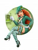 picture of dwarf  - Girl in leprechaun suit with beer - JPG