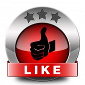 stock photo of follow-up  - like and follow us thumbs up red icon or button - JPG