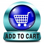 Add to shopping cart icon go to the online webshop, internet web shopping button