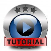 tutorial icon learn online video lessons or class, website education button e-learning