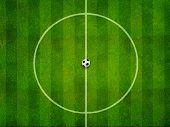 picture of grass area  - Soccer field center  area and ball top view - JPG
