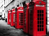picture of phone-booth  - Traditional british red phone booths in a row  - JPG