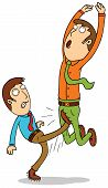 pic of genital  - Illustration of a man kicking his friend cruelly - JPG
