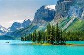 stock photo of reflections  - Majestic mountain lake in Canada - JPG