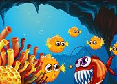 picture of piranha  - Illustration of a group of puffer fishes and a scary piranha inside the cave - JPG