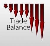 stock photo of macroeconomics  - Chart illustrating trade balance drop macroeconomic indicator concept - JPG