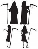 stock photo of grim-reaper  - Silhouettes of The Grim Reaper and his wife The Grim Reapress with scythes - JPG