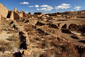 foto of pueblo  - Ancient Pueblo Bonito Ruins in Chaco Canyon, New Mexico
