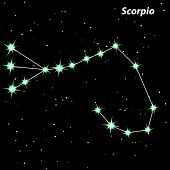 stock photo of scorpio  - Scorpio Zodiac sign bright stars in cosmos - JPG