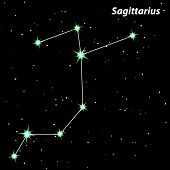 stock photo of sagittarius  - Sagittarius vector Zodiac sign bright stars in cosmos - JPG