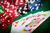 picture of flush  - Playing Cards Royal Flush and Poker Chips - JPG