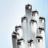 picture of fluorescent light  - New fluorescent light tubes on blue background - JPG