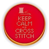 stock photo of cross-hatch  - Retro wood embroidery hoop with needlework sewing design - JPG