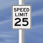 stock photo of mph  - A speed limit sign indicating 25 mph - JPG