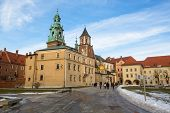 KRAKOW, POLAND - FEB 5, 2014: View of Royal Archcathedral Basilica of Saints Stanislaus and Wencesla