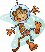 stock photo of gravity  - A monkey astronaut wearing a space suit and helmet - JPG