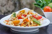 pic of green papaya salad  - green papaya salad with salted egg thai food Thai cuisine - JPG