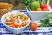 stock photo of green papaya salad  - green papaya salad thai food Thai cuisine - JPG