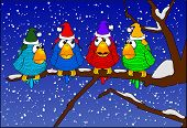 picture of winter scene  - cartoon graphic depicting holiday scene with four birds on a tree branch - JPG