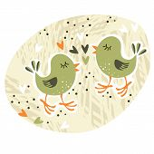 pic of centerpiece  - love card illustration with little birds and hearts centerpiece - JPG