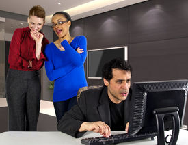 picture of indecent  - women gossiping about a man in the office - JPG