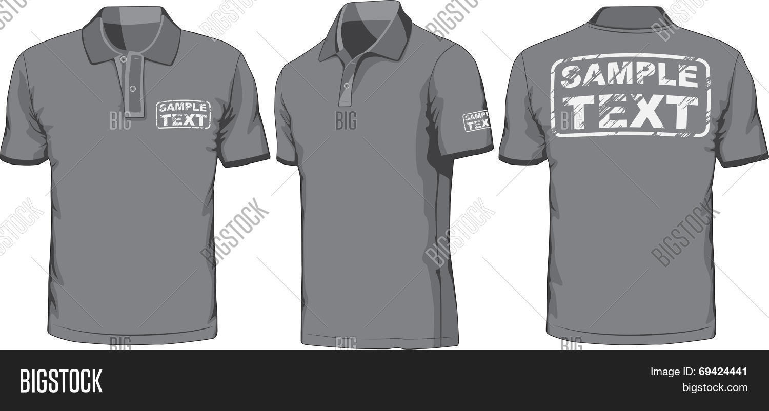 Black t shirt vector front and back - Front Back And Side Views Of Polo Shirt Vector