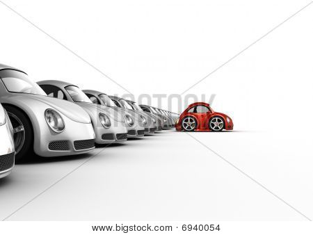 Distinguished Red Car Separated From The Crowd