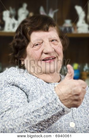 Elderly Ginving Thumbs Up