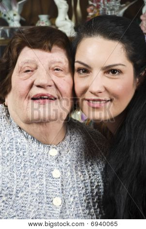 Beautiful Grandma And Granddaughter