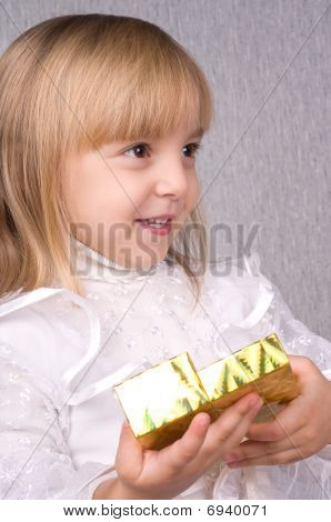 Girl And Gift Box