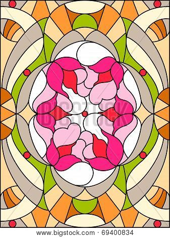Stained Glass Window. Floral Pattern. Composition Of Stylized Flowers, Leaves.