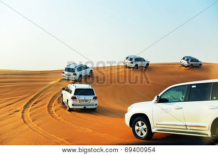 Dubai, Uae - September 12: The Dubai Desert Trip In Off-road Car Is Major Tourists Attraction In Dub