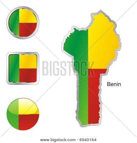 flag of Benin in map and web buttons shapes