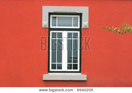Window In Red Wall